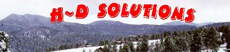 h-d solutions banner, snow on mountains